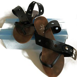 Ven Black Flat Leather Wrap Sandals